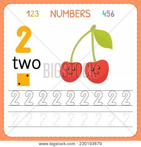 Numbers Tracing Worksheet For Preschool And Kindergarten. Writing Number Two. Exercises For Kids. Ma