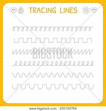 Trace Line Worksheet For Kids. Basic Writing. Working Pages For Children. Preschool Or Kindergarten