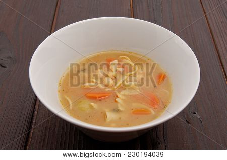 Bean Soup With Noodles On A Background