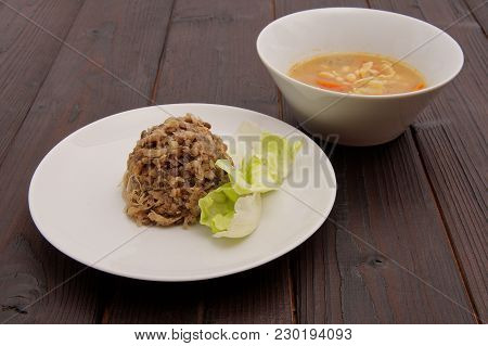 Buckwheat And Lentils With Tempeh On A Background