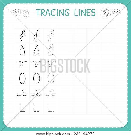 Trace Line Worksheet For Kids. Preschool Or Kindergarten Worksheet. Trace The Pattern. Basic Writing
