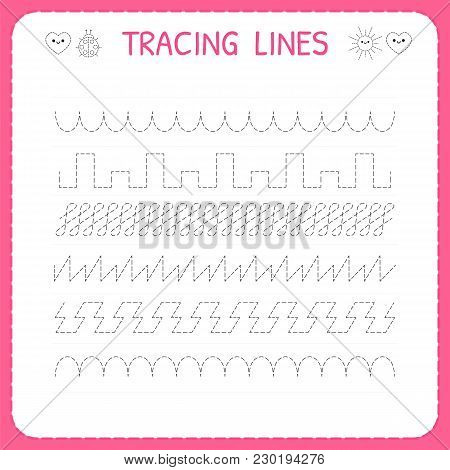 Trace Line Worksheet For Kids. Trace The Pattern. Working Pages For Children. Preschool Or Kindergar