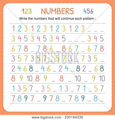 Write The Numbers That Will Continue Each Pattern. Numbers For Kids. Worksheet For Kindergarten And
