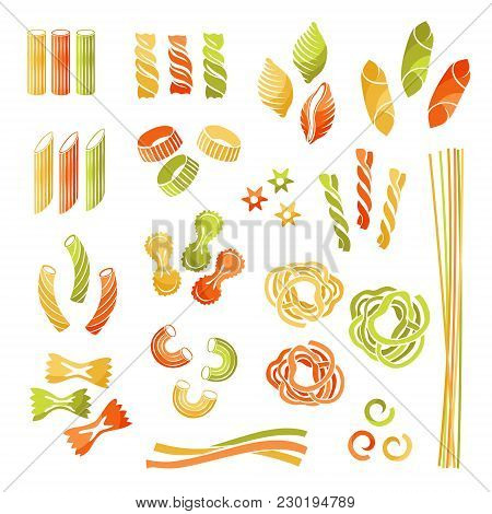Pasta Collection. Tricolor Variants. Vector Isolated Decorative Elements For Menu Or Package Design.