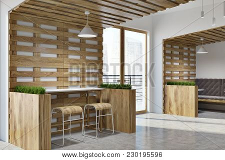 White And Wooden Walls Eco Bar Corner With Loft Windows And Wooden Tables And Chairs. Flower Beds. 3