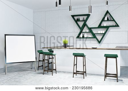 White Wall Eco Bar Interior With White Tables And Green Stools. A Potted Plant On A Bar. Whiteboard