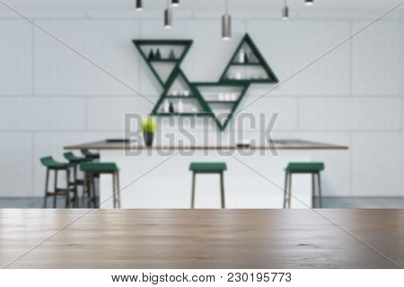 White Wall Eco Bar Interior With White Tables And Blue Stools. A Potted Plant On A Bar. Triangular S