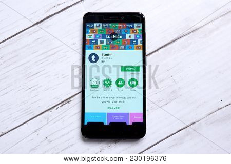 Kuala Lumpur,malaysia - January 28th,2018: Tumblr Displayed On A Android Play Store.tumblr Is A Micr