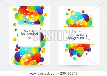 Creative Kids Cards With Colorful Bubble Decoration And Starry Texture. Posters With Vertical Border