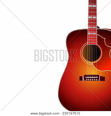 Acoustic Guitar Isolated On White Background With Copy Space For Your Text . Music Cover. Eps 10 Vec
