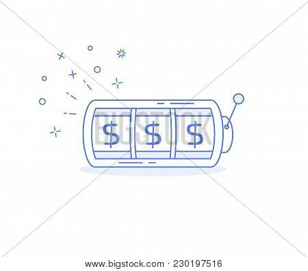Lucky Money On Slot Machine Icon. Simple Illustration Slot Machine Vector Icon For Web
