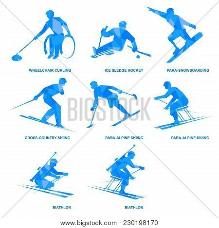 Winter Sports Icon Set. Eight Silhouettes Of Athletes With Disabilities. Different Kinds Of Competit