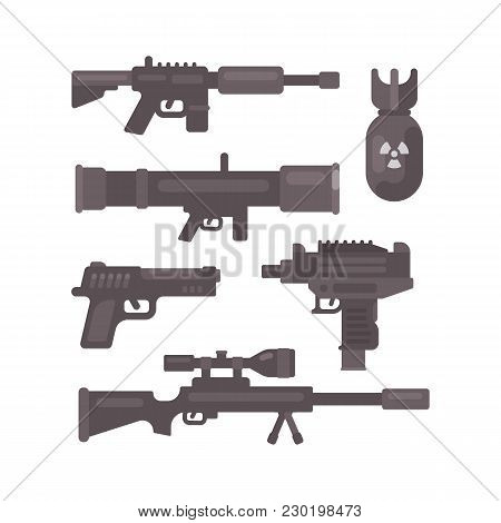 Set Of Weapon Flat Icons. Military Ammunition Collection