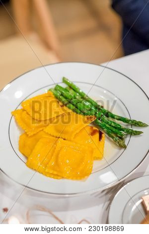 Paleo, Gluten-free Butternut Squash Ravioli Plated At This Beautiful Wedding Reception At A Californ