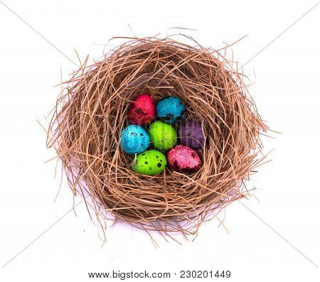 Easter Eggs In Nest Painted, Isolated On White Background. Chicken And Quail Eggs Catholic And Ortho