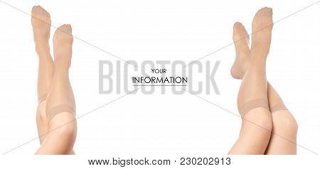 Female Legs Socks Stockings Body Fashion Beauty Buy Shop Sale Set Pattern On White Background Isolat