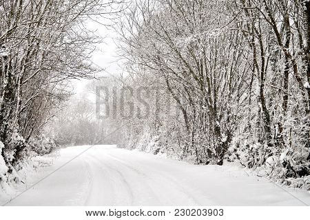 Winter Road Covered In Snow In Bannow County Wexford Ireland In March 2018.