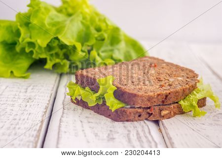 The Bread Diet For Weight Loss, Apples And Bread, Lettuce, In The Background, Slimming
