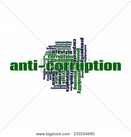 Anti-corruption Word Cloud Concept On White Background, 3d Rendering.