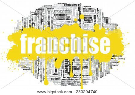 Franchise Word Cloud Concept On White Background, 3d Rendering.