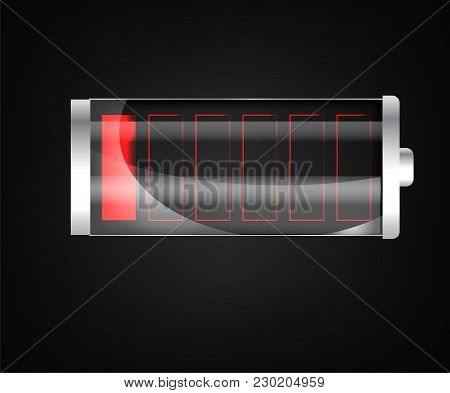 Low Battery. Battery Charging Status Indicator. Glass Realistic Power Battery Illustration On Black