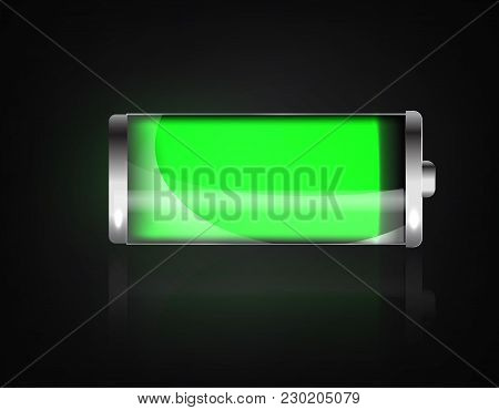 Charged Battery. Full Charge Battery. Battery Charging Status Indicator. Glass Realistic Power Green