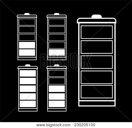 Battery Indicator Icon Set Isolated Isolated On A Transparent Background. Black And White Single Lin