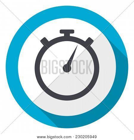 stopwatch blue flat design web icon