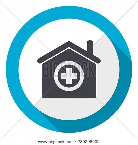 Hospital blue flat design web icon