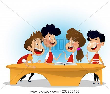 Group Of Children Are Discussing Book In Library. Concept Of Inclusive Activity. Cartoon Vector Illu