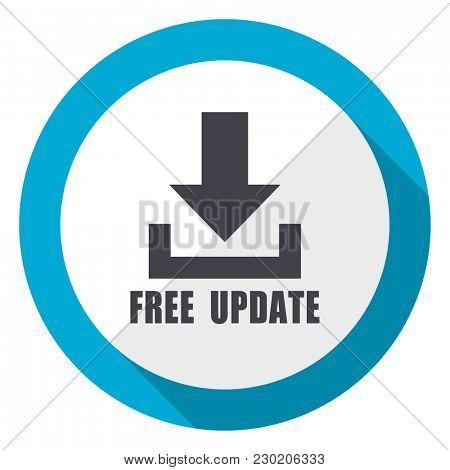 Free update blue flat design web icon