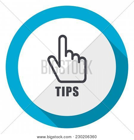 Tips blue flat design web icon