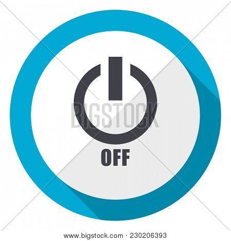 Power off blue flat design web icon