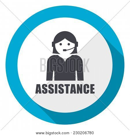 Assistance blue flat design web icon