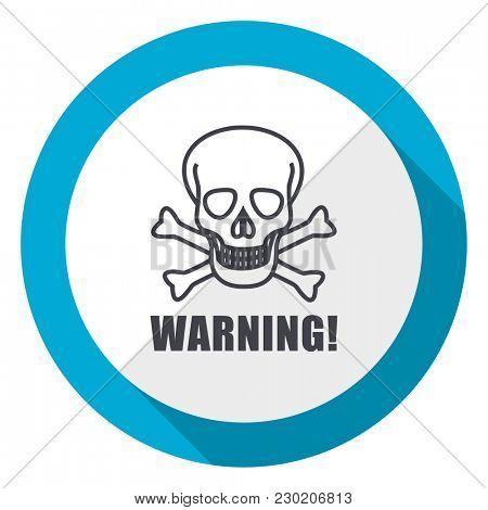 Warning skull blue flat design web icon