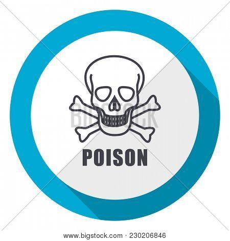Poison skull blue flat design web icon
