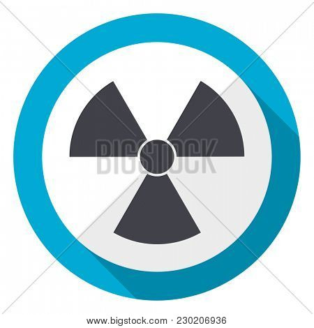 Radiation blue flat design web icon