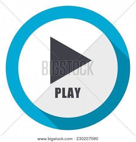 Play blue flat design web icon