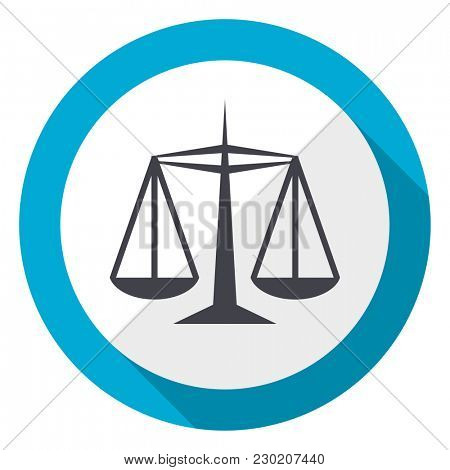 Justice blue flat design web icon