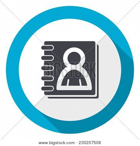 Address book blue flat design web icon