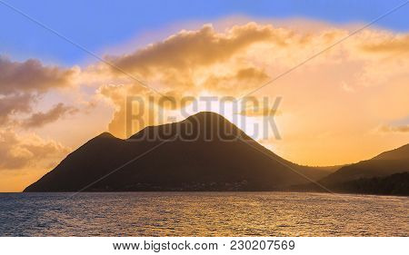 The Beautiful Sunset On Martinique Island, French West Indies.