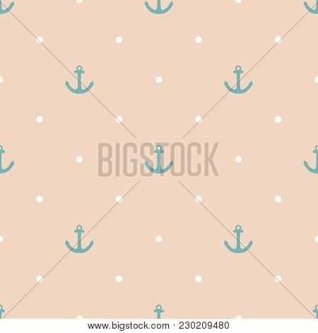 Tile Sailor Vector Pattern With Blue Anchor And White Polka Dots On Pastel Background