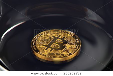 Golden Bitcoin Laying Alone On The Bottom Of A Jar. Risky Investment Concept. 3d Rendering