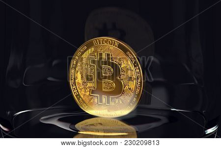 Golden Bitcoin Standing Alone In A Jar On Black Background. Cryptocurrency Storage Concept. 3d Rende