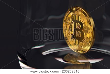 Golden Bitcoin Alone On The Bottom Of A Jar. Risky Investment Concept. 3d Rendering