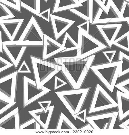 Geometric Triangle Pattern . Black And White Seamless Triangle Pattern. Geometric Seamless Pattern
