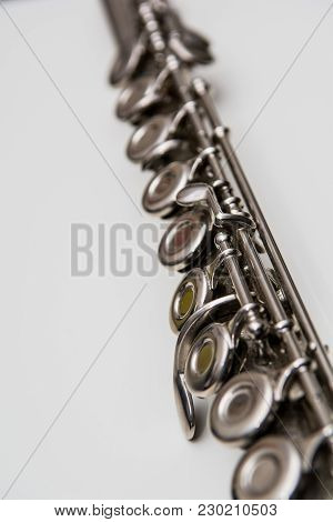 Close Up Of Keys From A Flute. Classical Musical Instrument