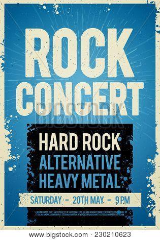 Vector Illustration Rock Concert Retro Poster Design Template On Old Paper Texture