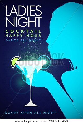 Vector Illustration Blue Template Party Event Happy Hour Ladies Night Flyer Design With Cocktail Gla