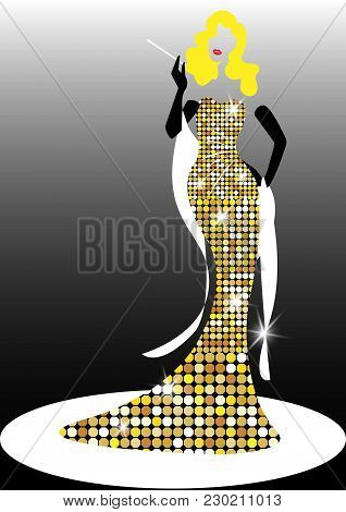 Diva Hollywood Silhouette, Beautiful Retro Fashion Blond Woman, Styling And Evening Dress 1940s 1950